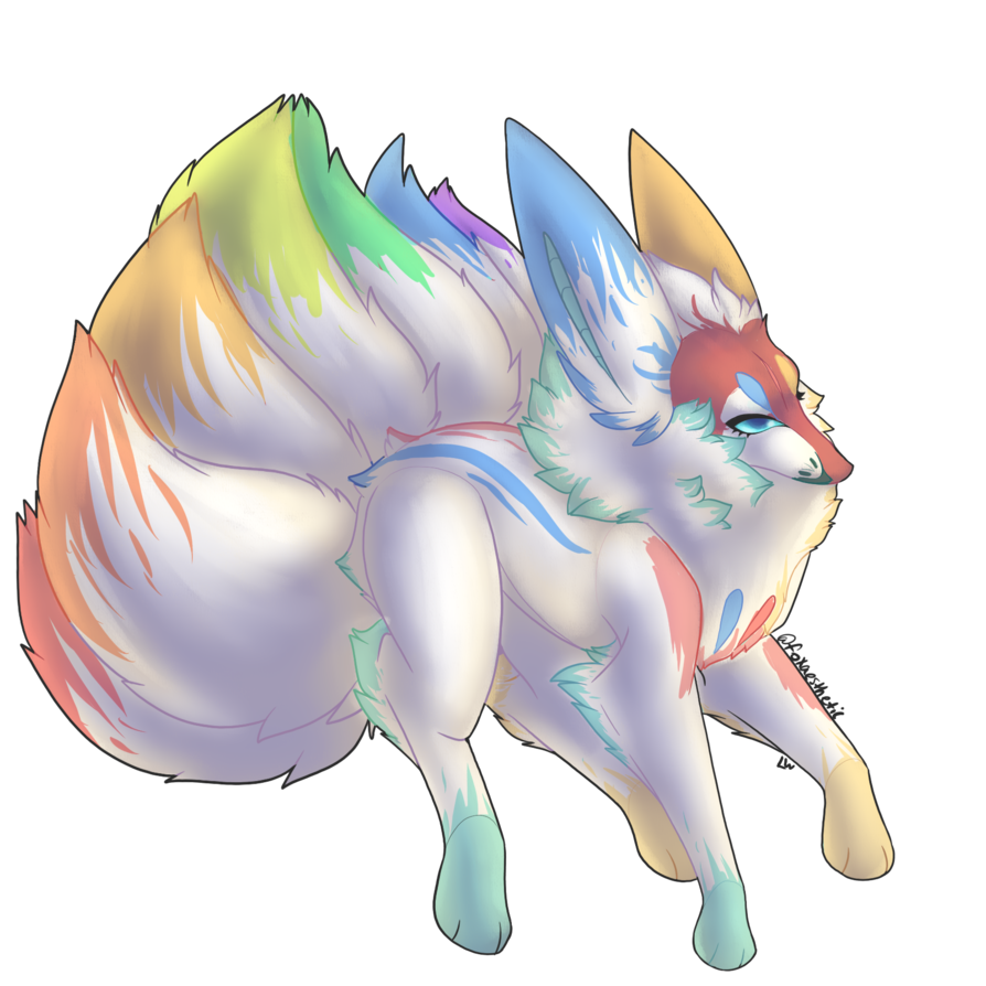 transparent library Drawing rainbows pastel. Rainbow fire kitsune by