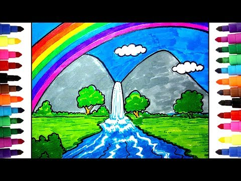 picture black and white stock Drawing rainbows waterfall. How to draw a