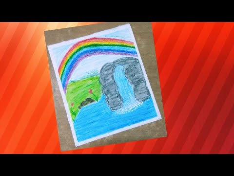 jpg freeuse library Drawing rainbows waterfall. Rainbow scenery with oil