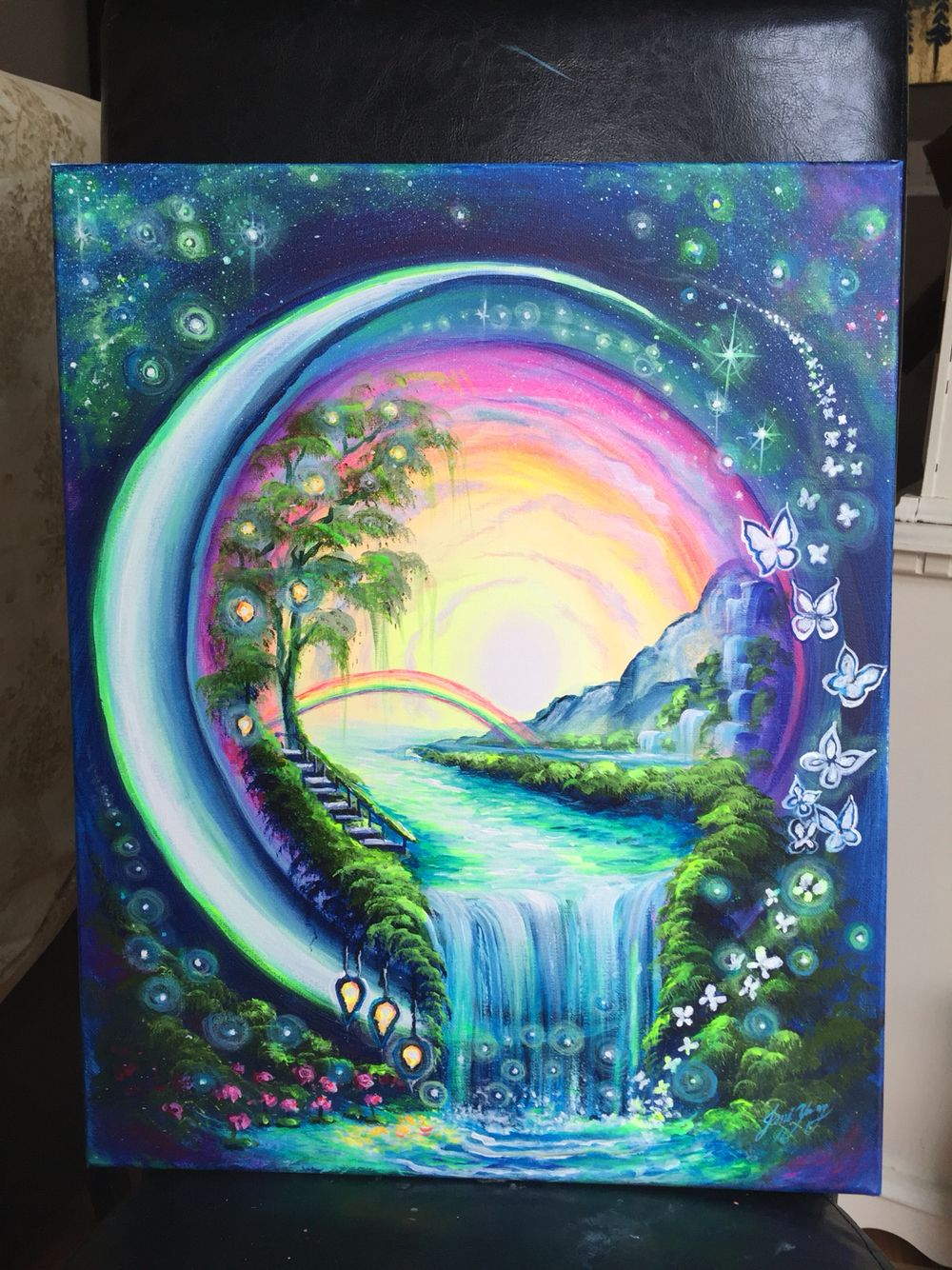 jpg free library Unique painting idea a. Drawing rainbows waterfall
