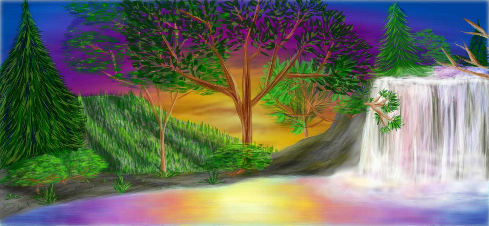 clip library Drawing rainbows waterfall. Rainbow falls drawings sketchport