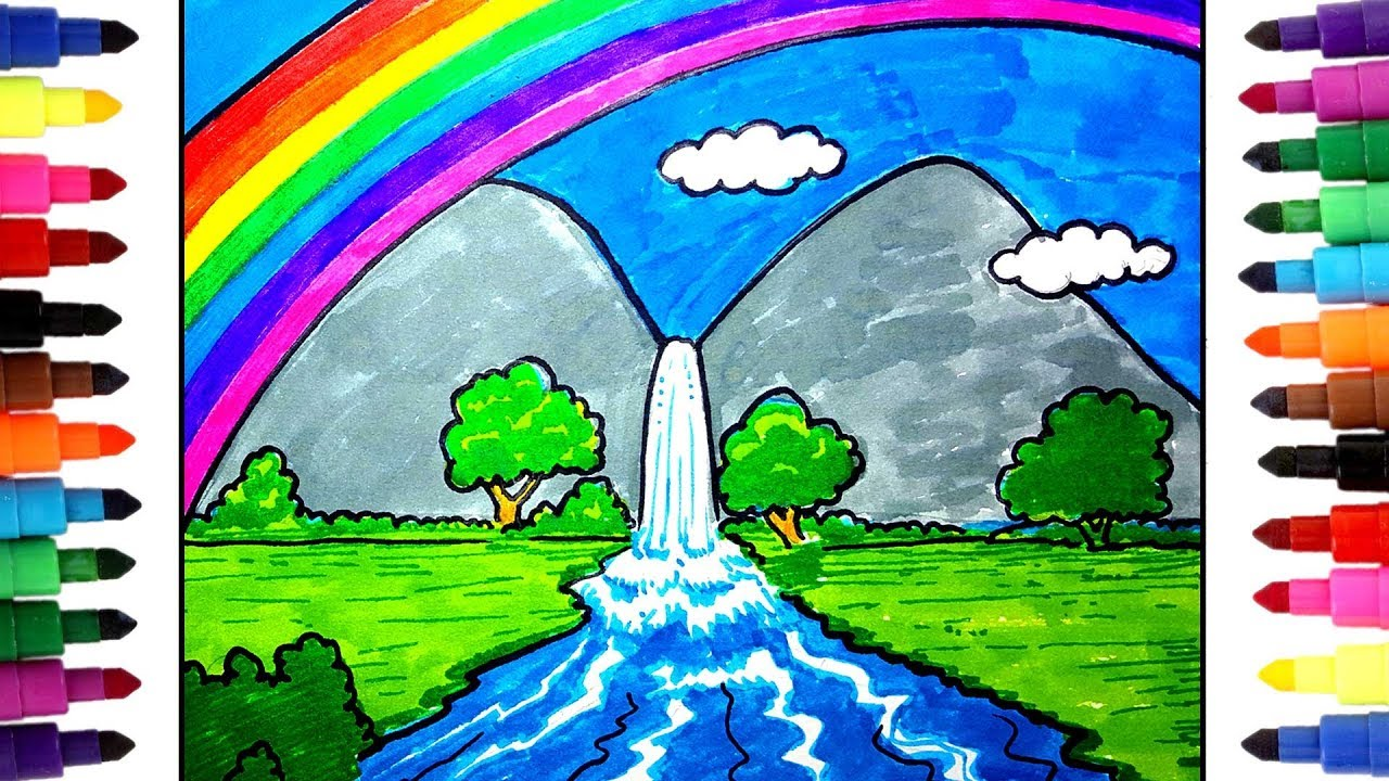 vector How to draw a. Drawing rainbows waterfall