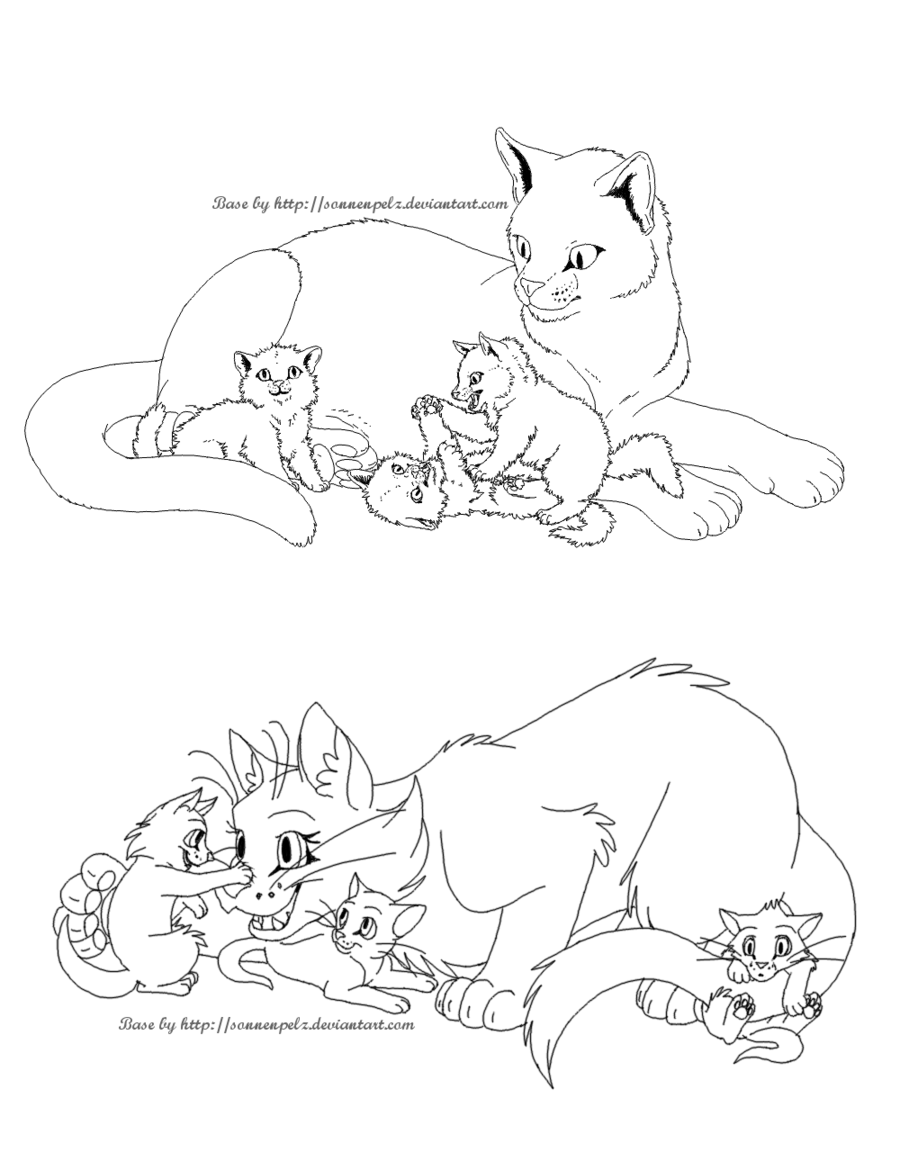 banner transparent stock Free cat family lineart. Drawing random realistic