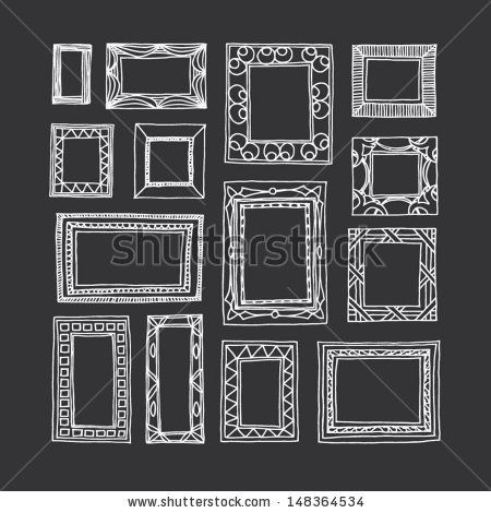 graphic freeuse library Set of hand drawn. Drawing rectangle frame