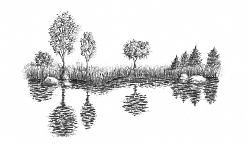 clip art black and white download Drawing reflections easy. How to draw water
