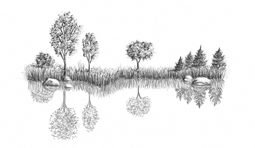 clip art black and white download How to draw water. Drawing reflections easy