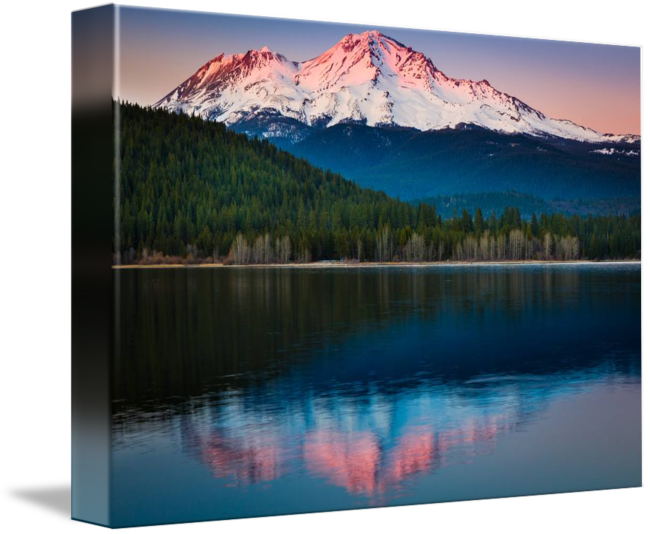 graphic freeuse download Drawing reflections lake. Mount shasta sunset by