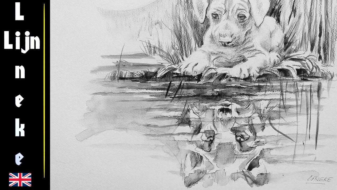 clip free stock Drawing reflections pencil. Draw puppy and wolf
