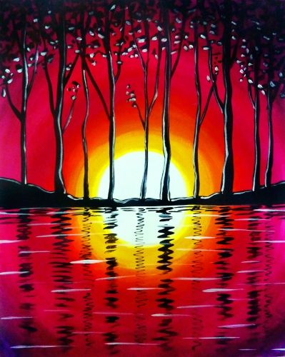 clip free Drawing reflections sunset. Red water and trees