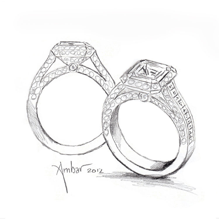 clip art library Hand Drawing For Cosmic Fire Engagement Ring