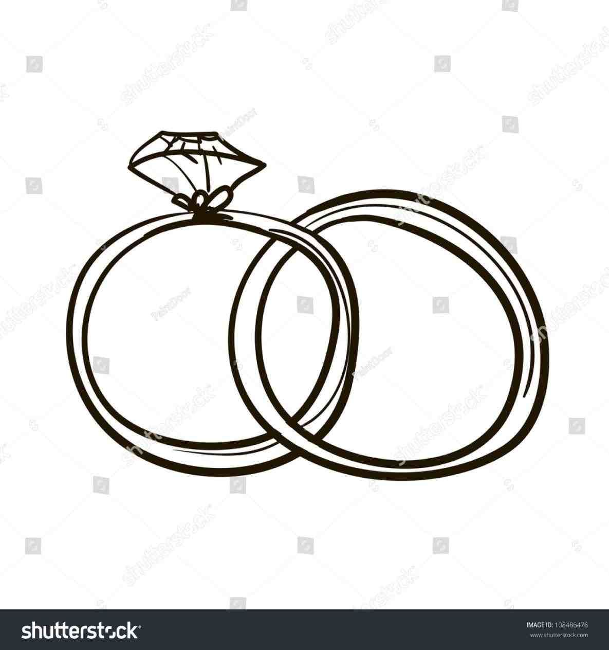 vector black and white stock Rings drawing wedding band. Simple ring weddings