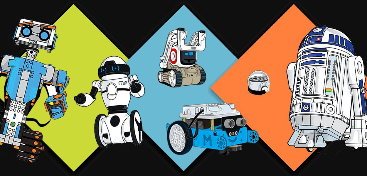 vector royalty free library drawing robots kid #95494031