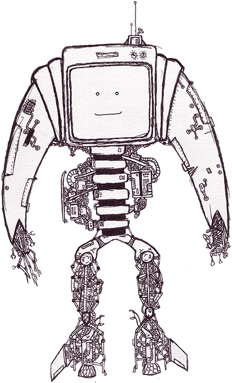 free library drawing robots professional #95493560