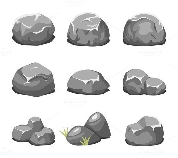 vector library download Stones and rocks cartoon vector