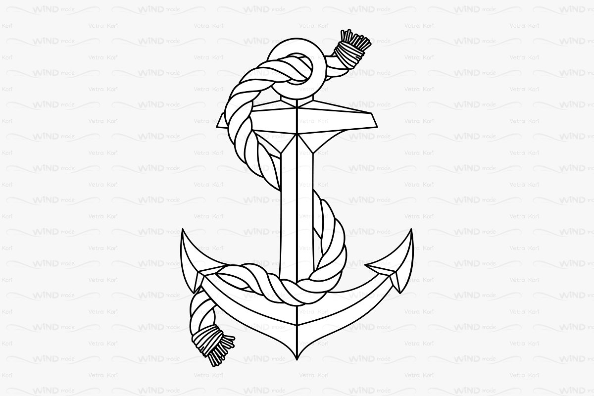 image royalty free Drawing rope outline.  vector anchor graphic