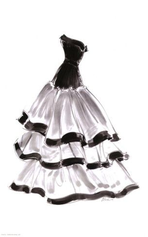 graphic transparent library Drawing ruffles dress. Evening gown with print