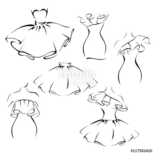 clip art freeuse stock Drawing ruffles vector. Clothes in the romantic