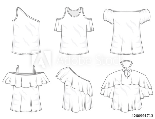clipart Isolated off the shoulder. Drawing ruffles vector