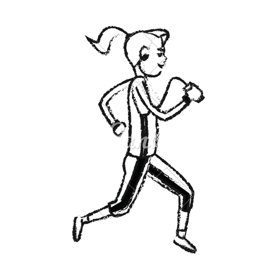 black and white library Drawing running. Girl at getdrawings com