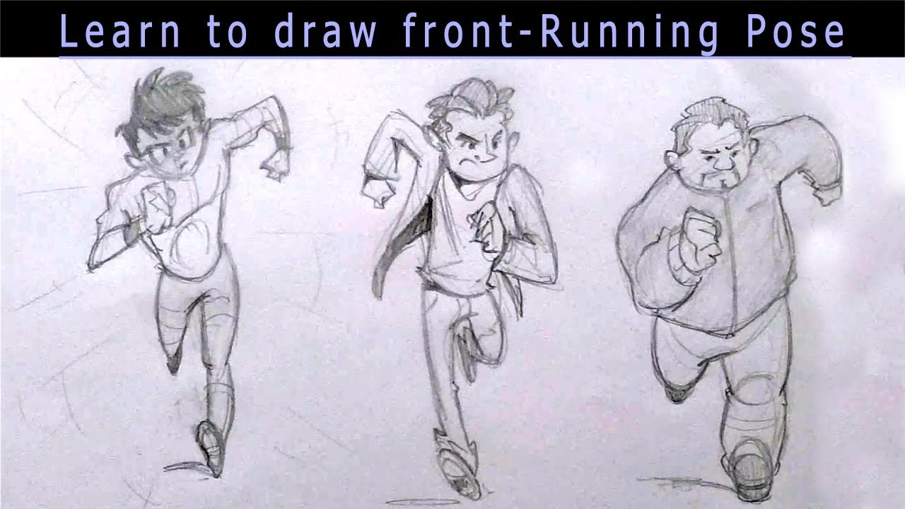 png royalty free library Drawing running pose. How to draw front