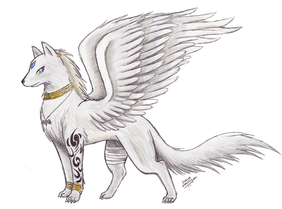 clip art download Drawing s. Wolf with wings awesome