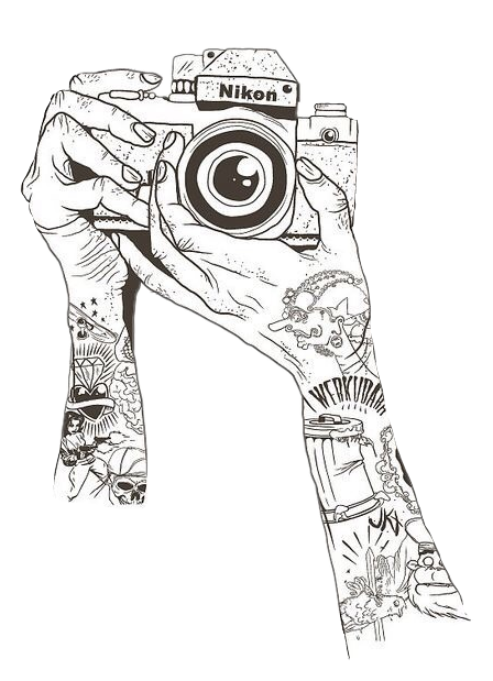 clip black and white library Nikon camera hands tattoo. Drawing s creative