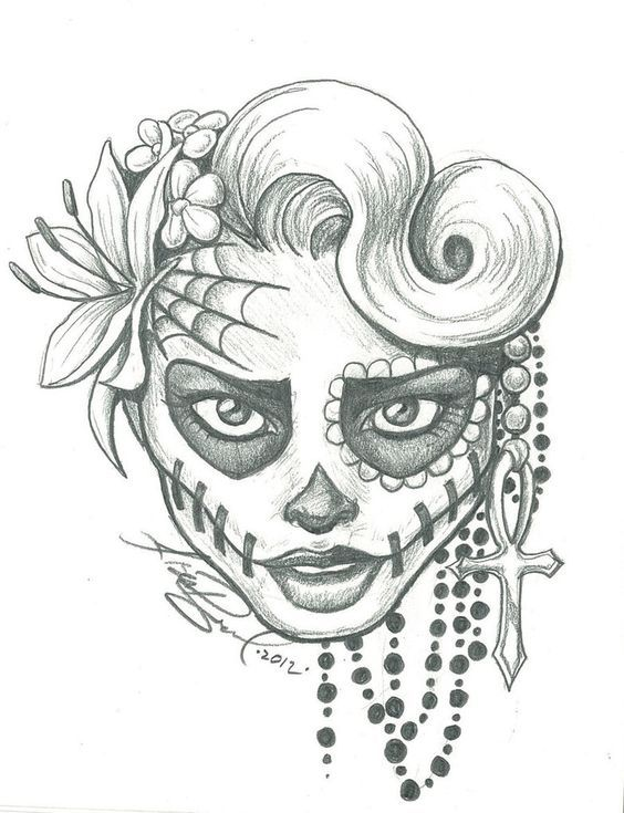 clip transparent Drawing s sugar skull. Lady two by leelab