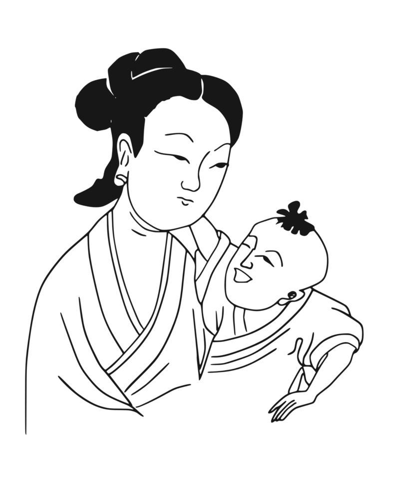 vector royalty free download Drawing sad happy. Mother and child by