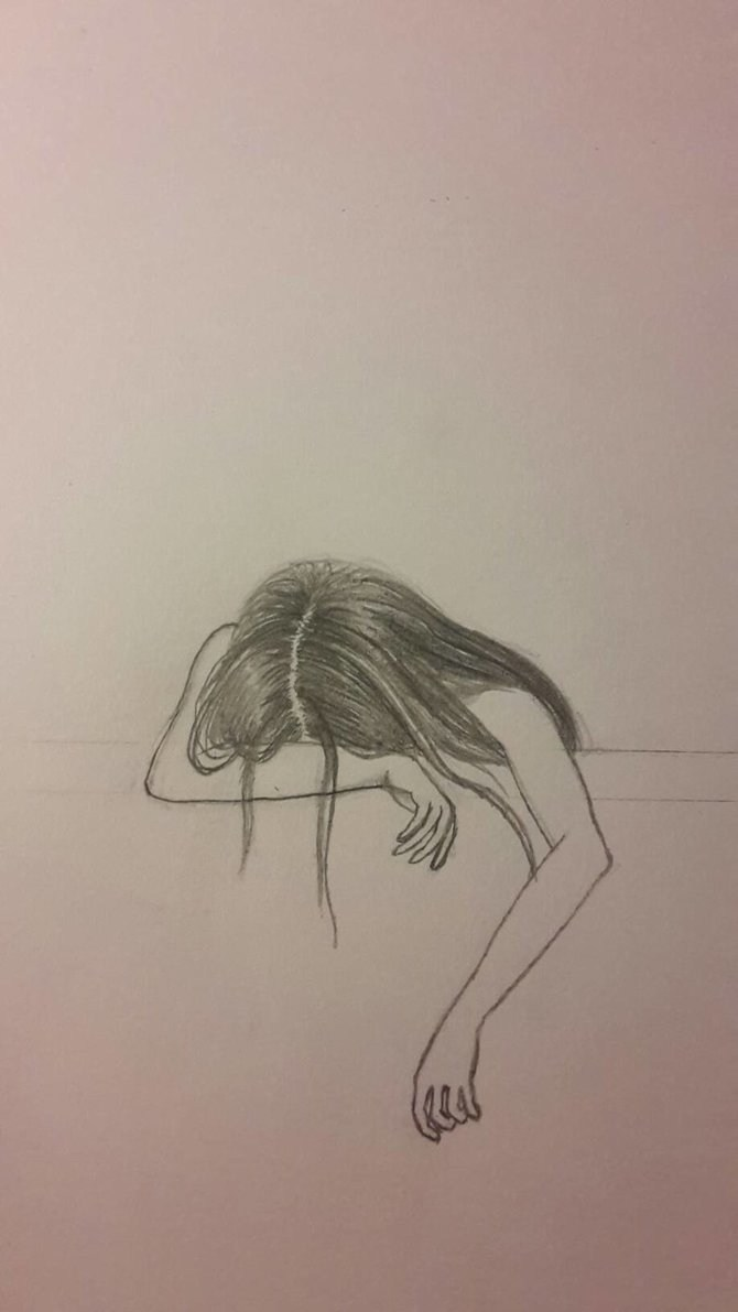 black and white Drawing sad sketch. Girl at paintingvalley com
