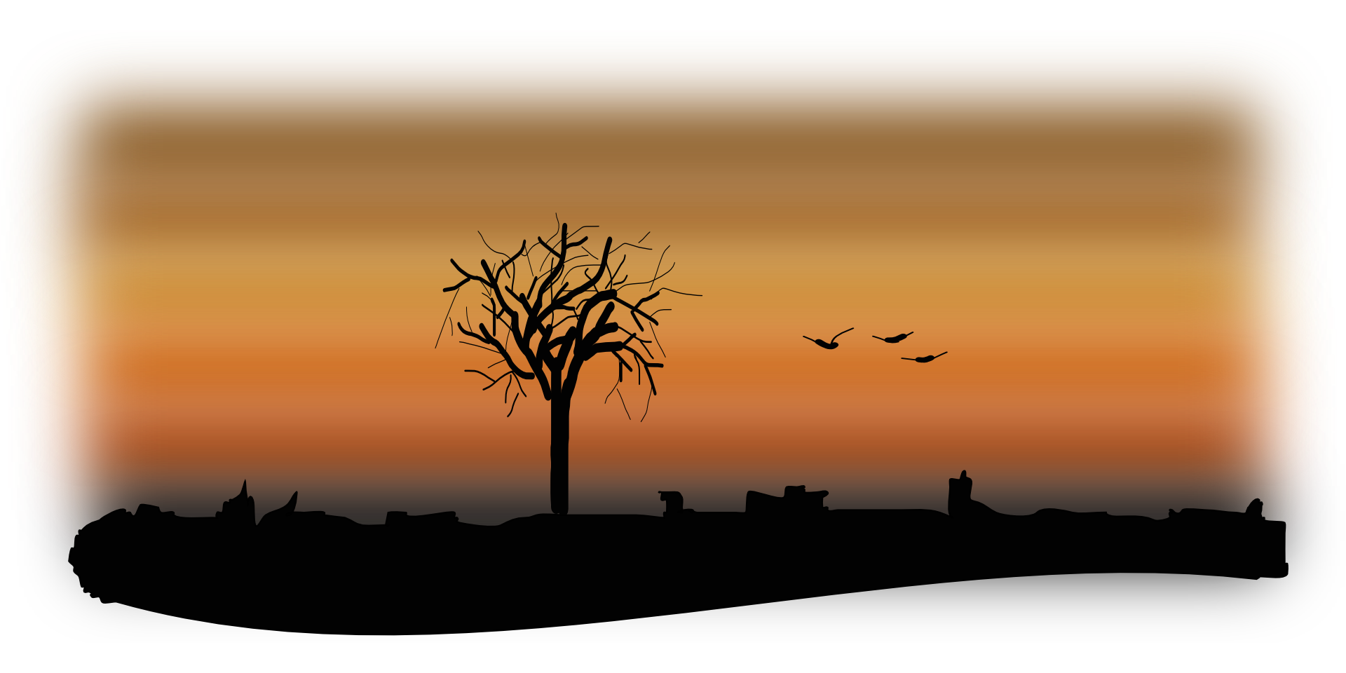 clipart download Silhouettes of a tree and flying birds at sunset free image
