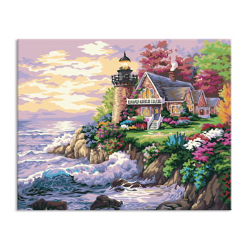 vector freeuse stock Seaside Natural Village Scenery Decoration Creative Diy Oil Painting