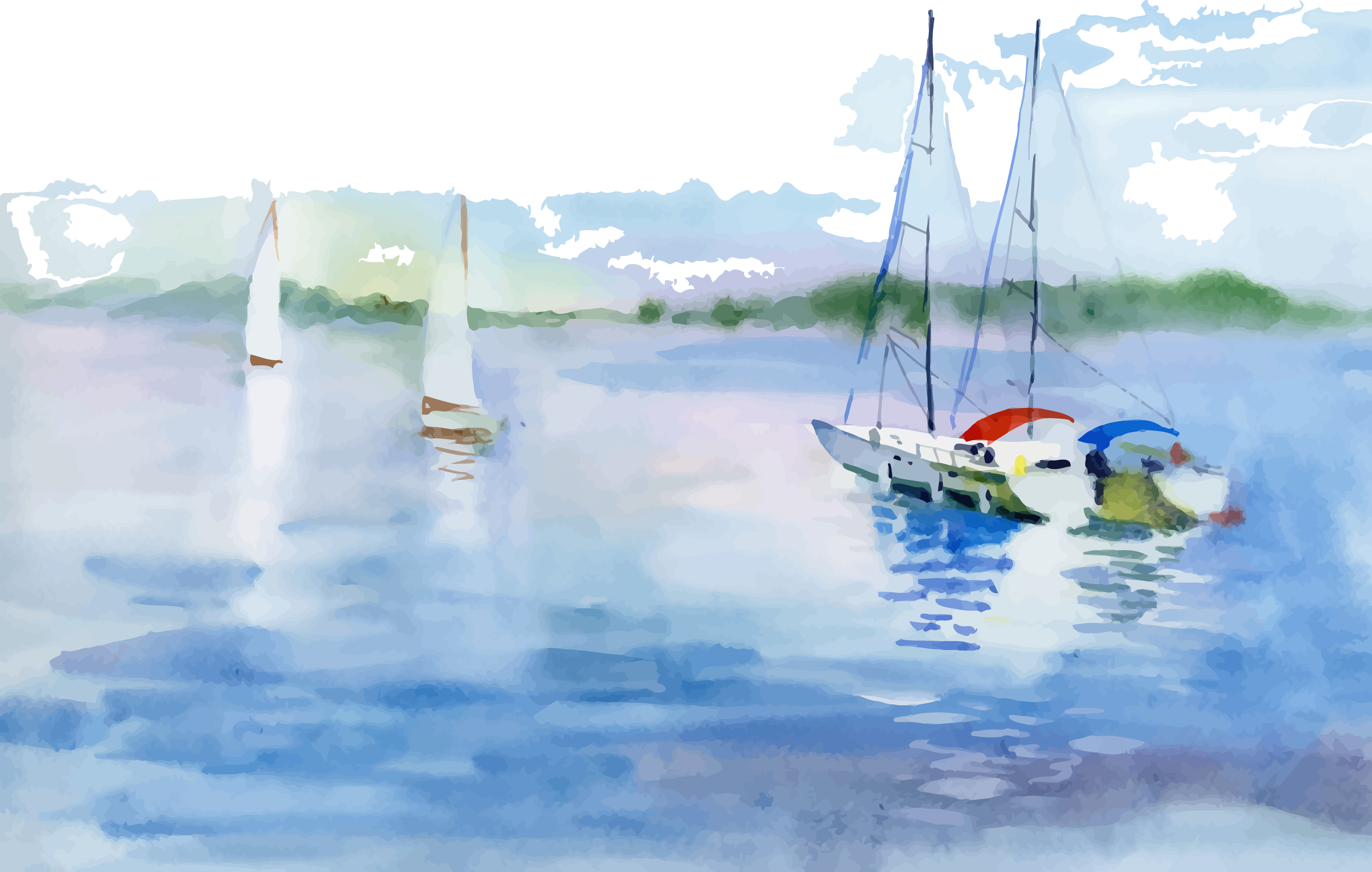 banner royalty free Watercolor landscape painting boat. Boats drawing scenery