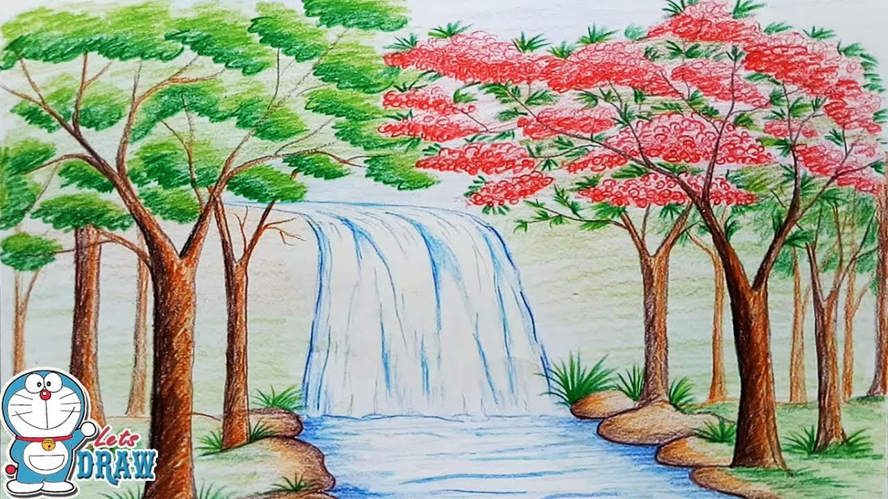 banner library download How to draw scenery. Drawing nature waterfall