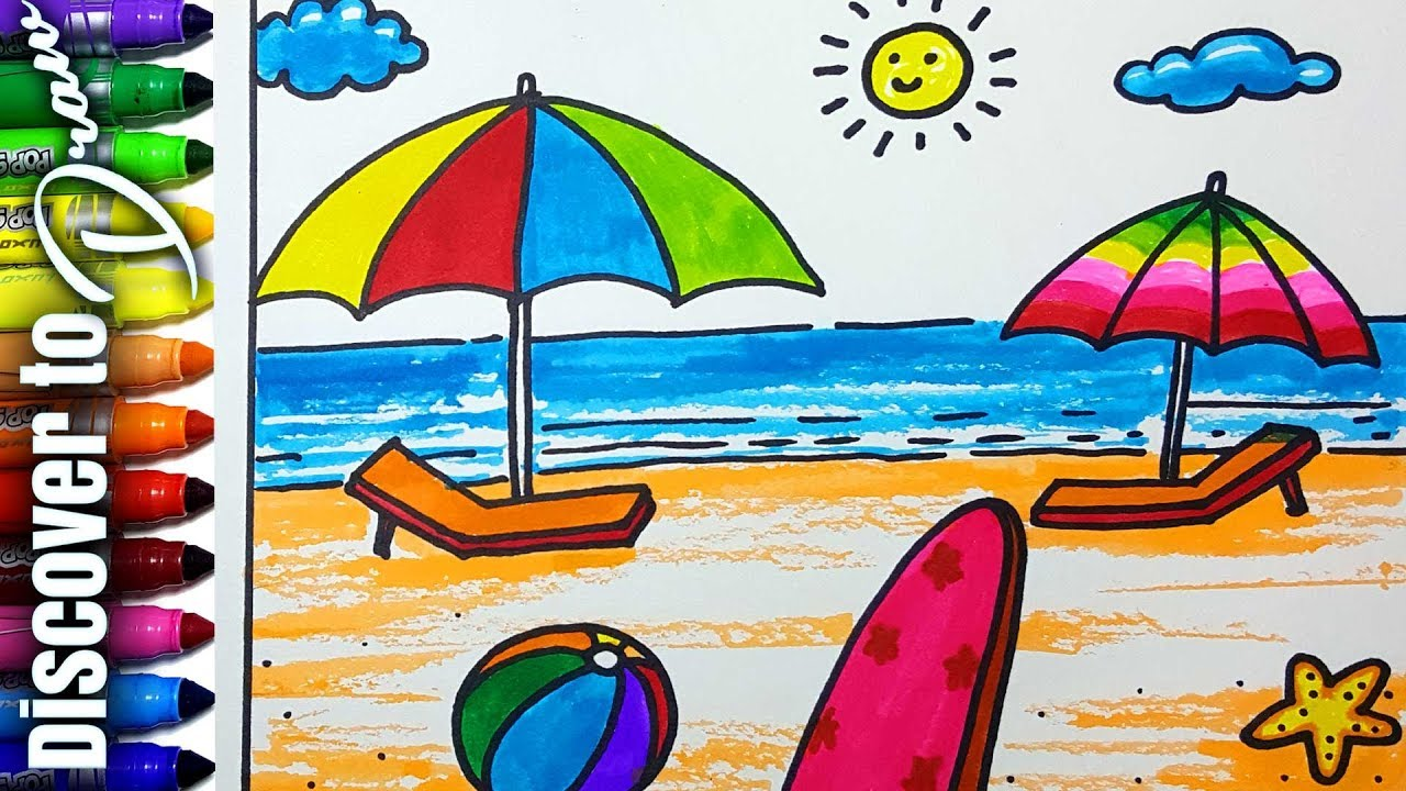 image royalty free Drawing seashore kids. Beach for at paintingvalley