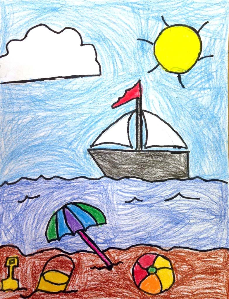 image royalty free Beach for at paintingvalley. Drawing seashore kids