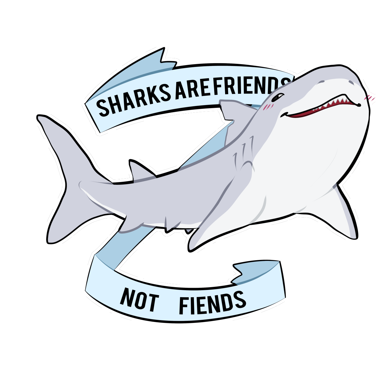 clip art royalty free library Are friends not fiends. Drawing sharks anime