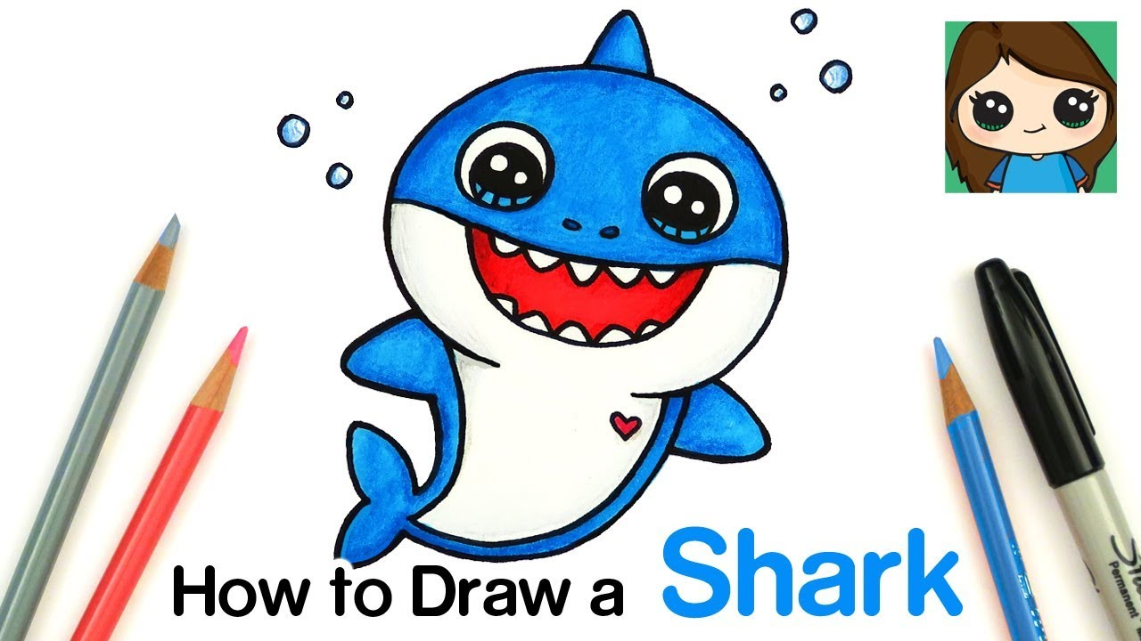 image download Drawing sharks baby shark. How to draw easy