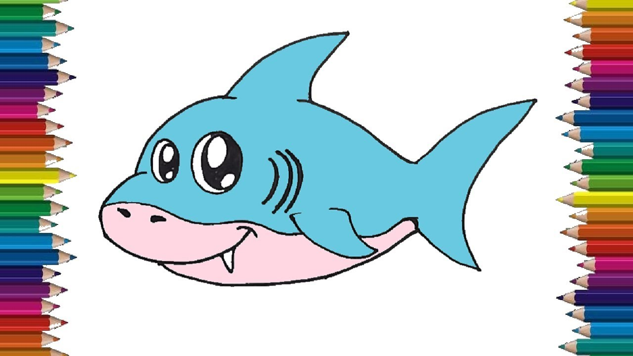 library How to draw a. Drawing sharks baby shark