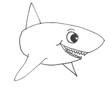 vector freeuse library Drawing sharks cartoon. How to draw with