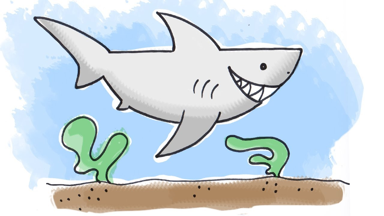 clipart library How to draw a. Drawing sharks cartoon