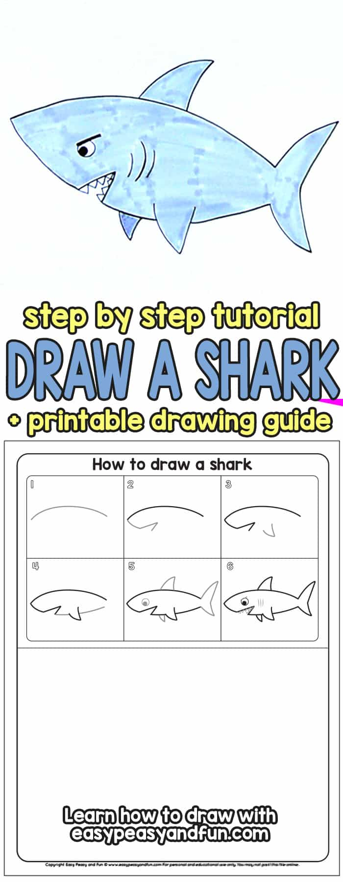 black and white How to draw a. Drawing sharks step by