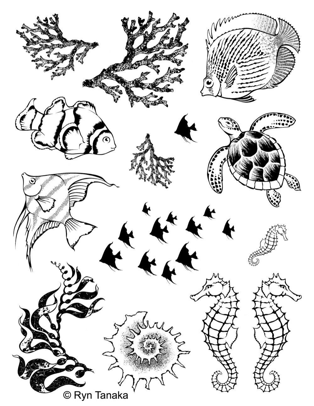 vector download Sea creatures unmounted stamps. Drawing sheet rubber