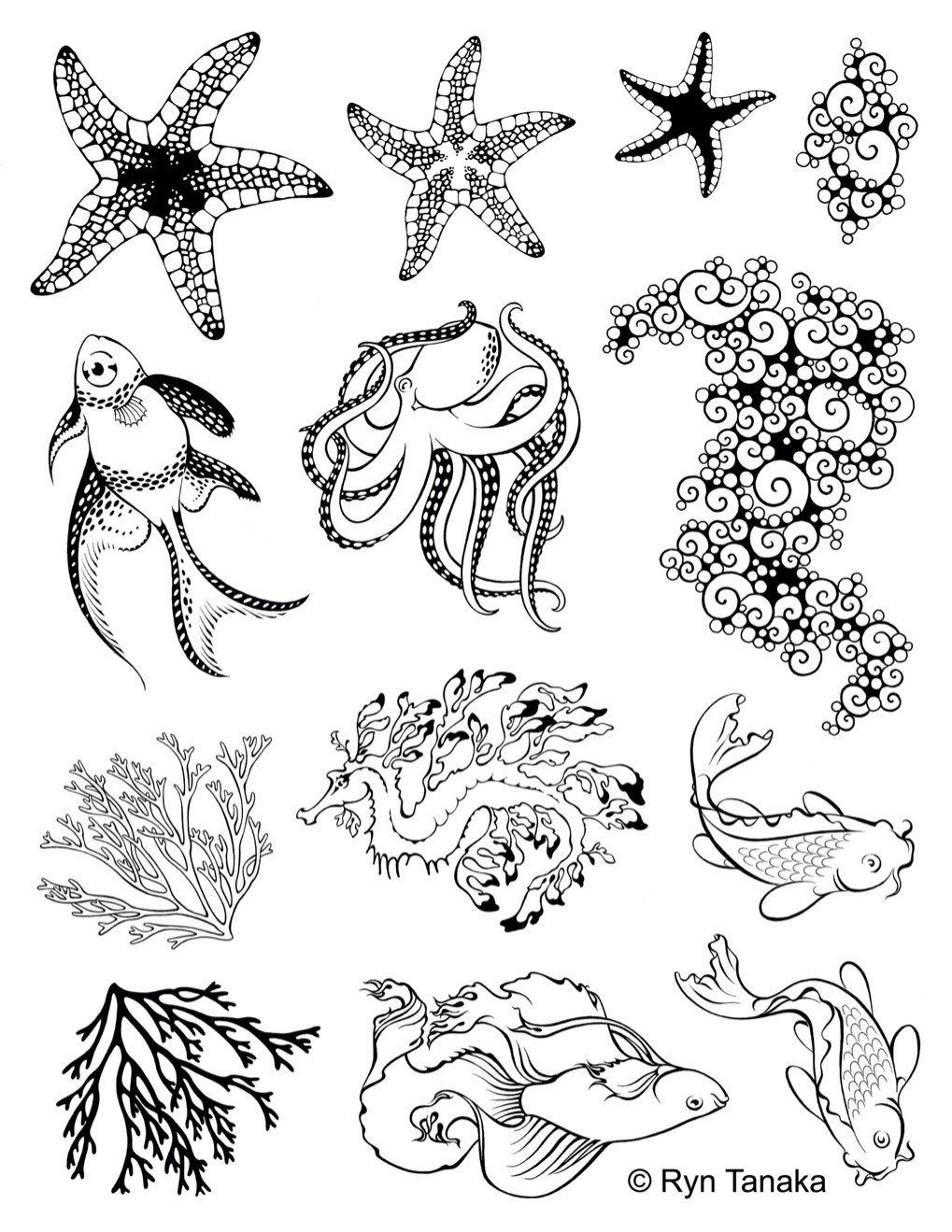 svg royalty free download Drawing sheet rubber. Sea creatures unmounted stamps
