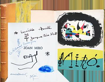 vector Voir et decouvrir lithographs. Drawing signature joan miro