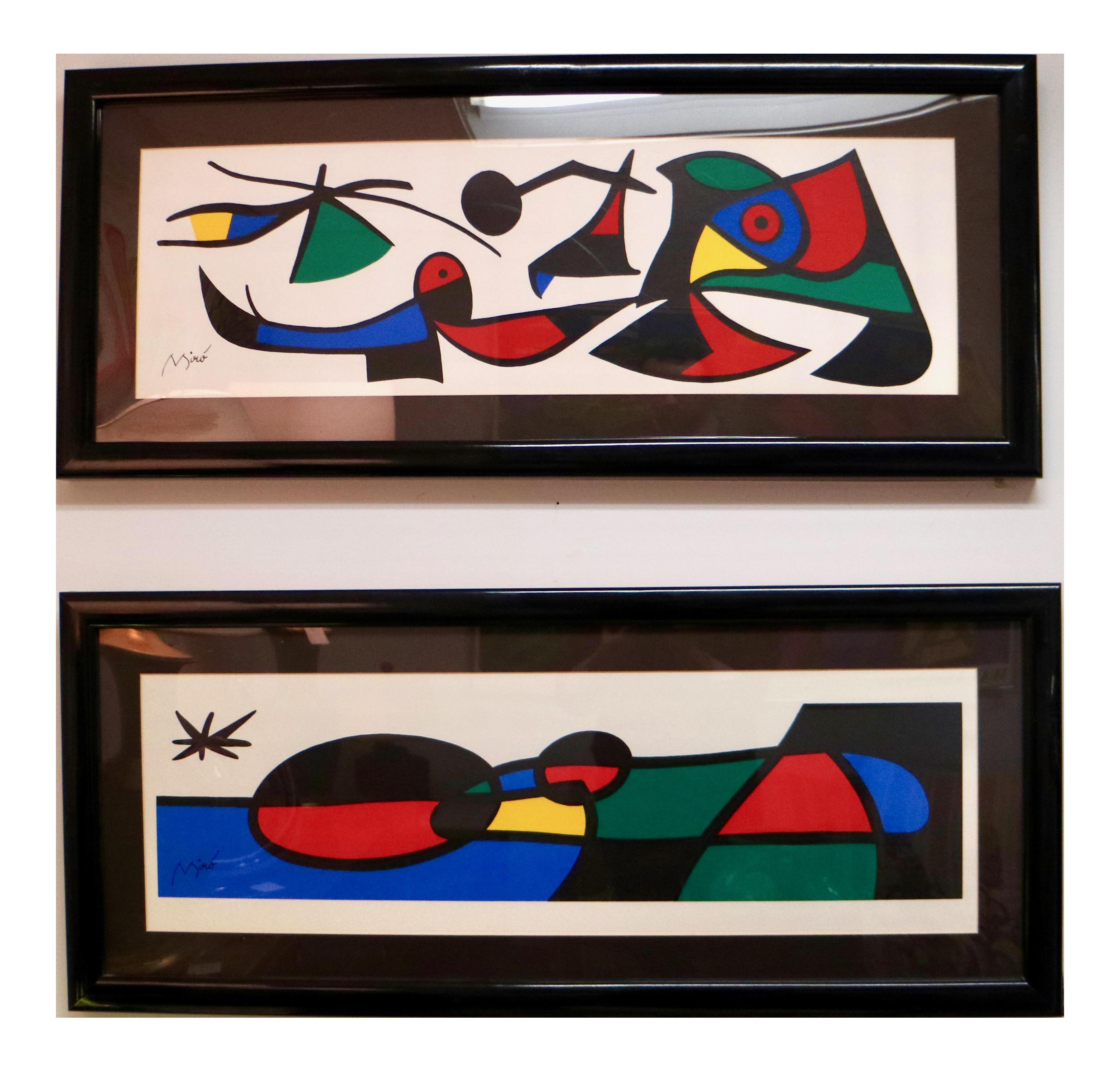 graphic royalty free library Mir silkscreens a pair. Drawing signature joan miro