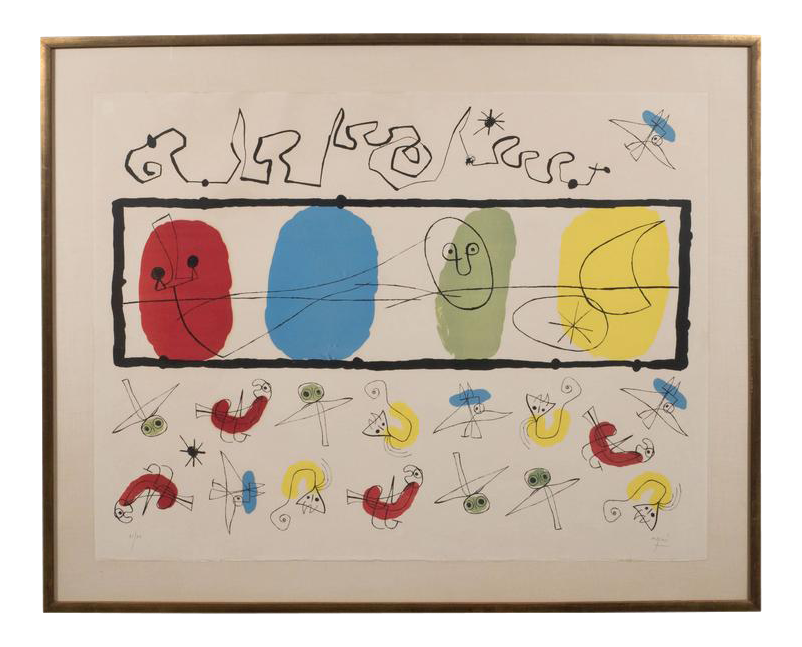 banner stock Drawing signature joan miro. Lovely the birds m