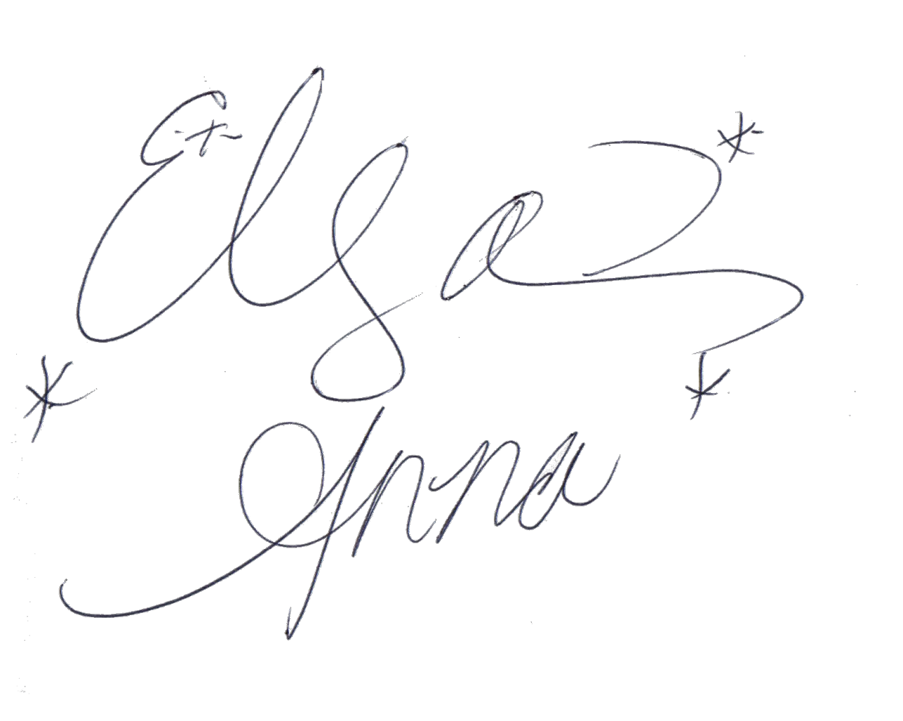 svg Drawing signatures. Elsa and anna s