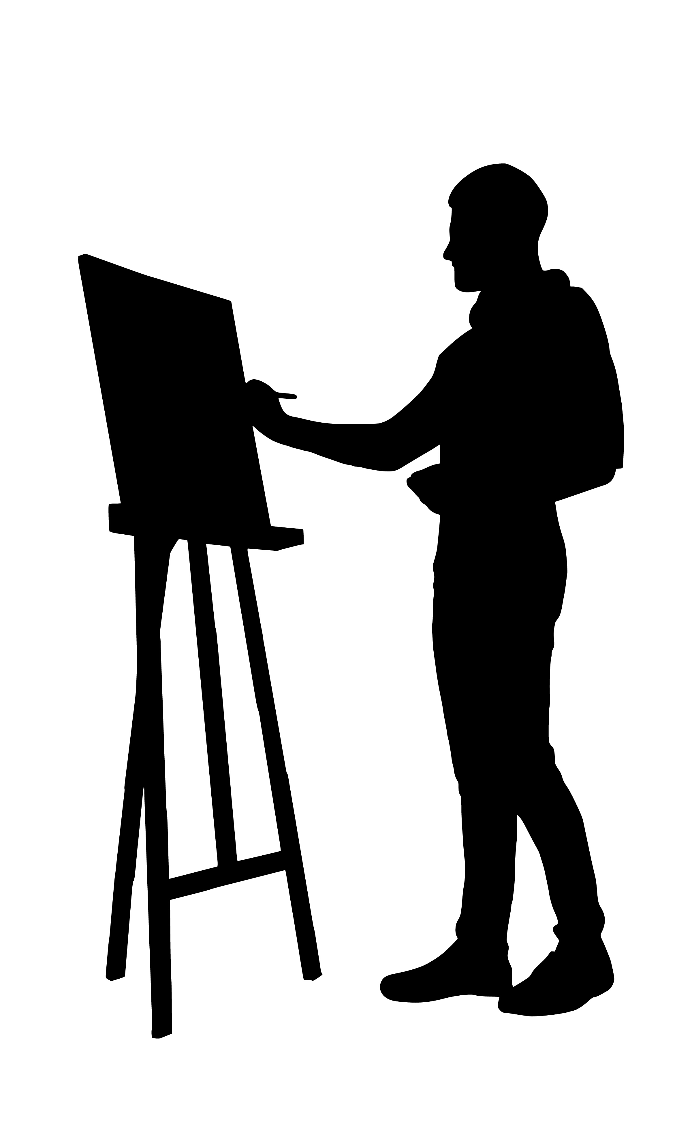 jpg black and white stock Drawing silhouette art. Free images artist standing