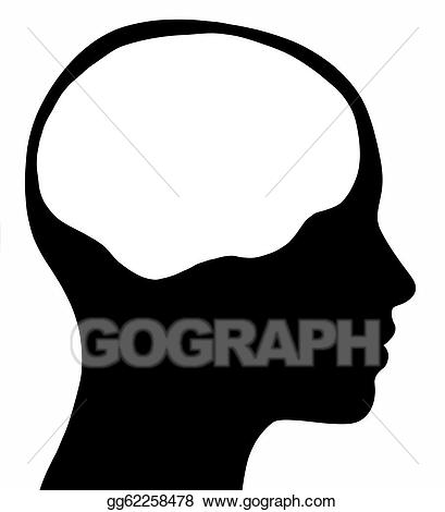 freeuse Drawings female with brain. Drawing silhouette head