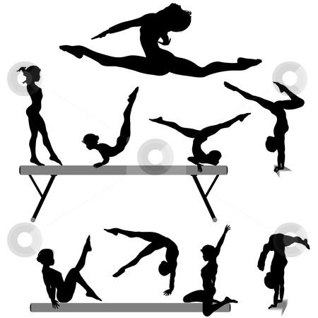 clip black and white Free gymnastic silhouettes to. Drawing silhouette printable